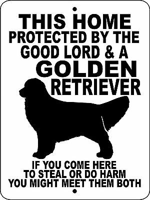 "GOLDEN RETRIEVER  DOG SIGN,9""x12"" ALUMINUM SIGN,Hunting,Security,Gate,GLGR"