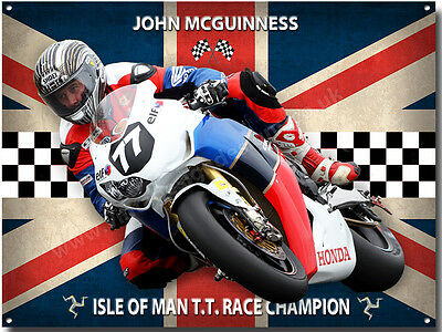 John Mcguiness Metal Sign,(A3 Size) Isle Of Man T.t Motor Cycle Racing Champion.
