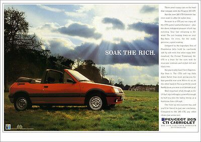 Peugeot 205 Cti Cabriolet Pug Retro A3 Poster Print From Classic 80's Advert