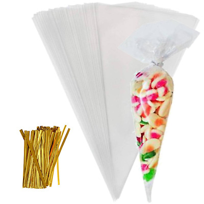Clear Cellophane Cone Bags Twist Ties Kids Party Sweet Cello Candy Display Bag