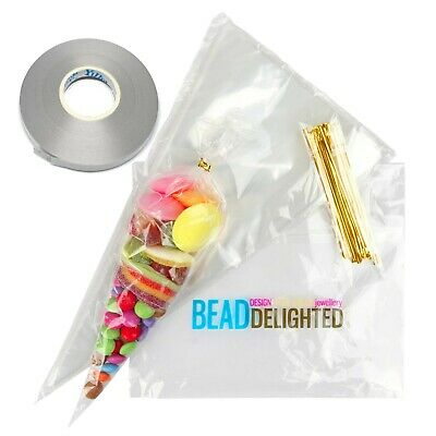 50 LARGE Clear Cone Party Bags Cellophane Sweet Candy Display Favours FREE TIES