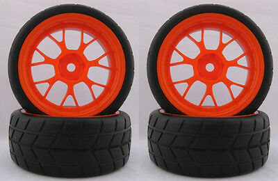 4PCS RC 1/10 Soft Rubber  Tires Tyres Wheel Rim For On Road Car 22019R
