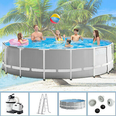 Intex 457x122 Komplettset Swimming Pool Schwimmbad Frame Metal Stahlwand