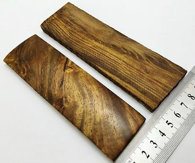 Pair of Rose Wood Burl Scales Knife Handle Making Blanks Bush Crafts 14x4cm