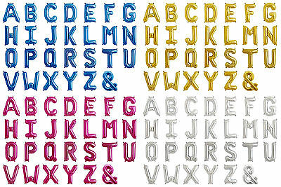 "16"" Letter Foil Balloon Rose Gold Silver Blue Magenta Party Alphabet A - Z Name"