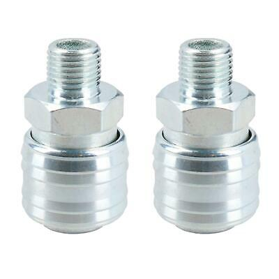 Euro Air Line Hose Connector Fitting Female Quick Release 1/4 BSP Male 2pk