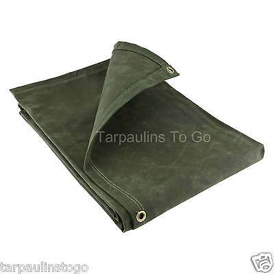Canvas Heavy Duty Waxed Cotton Tarpaulin Cover 21oz Green Boat Log Sheets