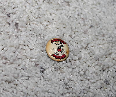 DISNEY 1930's MICKEY MOUSE  CELLULOID PINBACK BUTTON + PUDLIN BACKPAPER