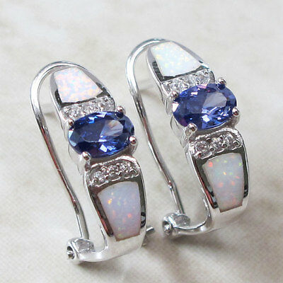 Stylish 1 Ct Tanzanite White Opal 925 Sterling Silver French Clip Earrings