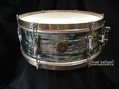 VINTAGE GRETSCH ROUND BADGE 5x14 SNARE DRUM MIDNIGHT BLUE PEARL, DEMO VIDEO!