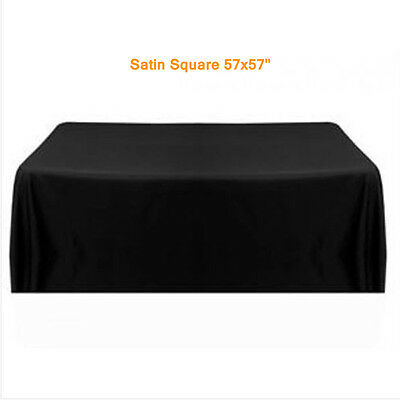 57''Tablecloth Table Cloth Cover Satin Black for Party Home 145*145cm Square