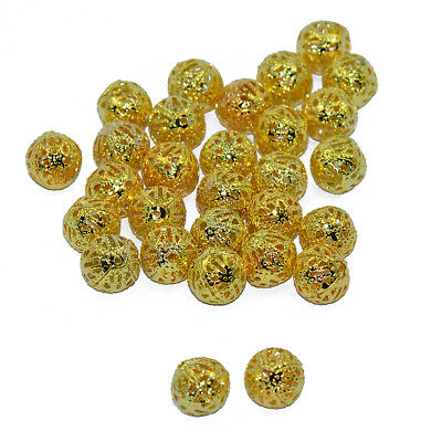 50x Gold Plated Round Ball Filigree Spacer Beads Hollowed BEADS Charms 10mm