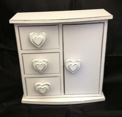 White Shabby Chic Heart Jewellery Box Distressed Finish Cabinet Trinket Drawers