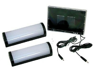 2 x 5 LED SOLAR POWERED GARDEN SHED GARAGE STABLE RECHARGEABLE LIGHTS SLSHED