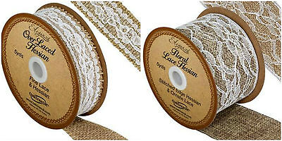 Over Laced Lace & Hessian natural/white ribbon - choice of width 1m