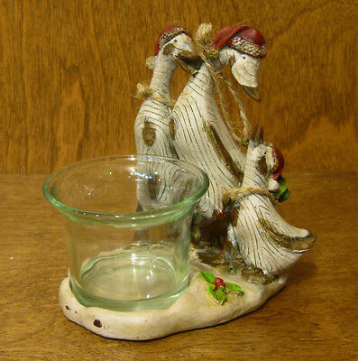 Transpac Wood Look Ducks #C9527 HOLIDAY VOTIVE,  NEW from Retail Store CHRISTMAS
