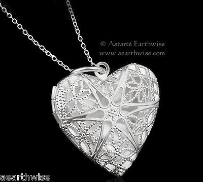 SILVER PLATED HEART LOCKET PENDANT AND CHAIN Wicca Pagan Witch Goth LOVE