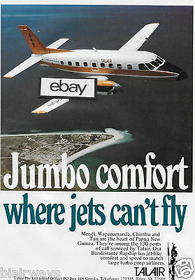 "Talair  Papua New Guinea 1980 ""jumbo Comfort""bandeirante To 130 Ports Of Call Ad"