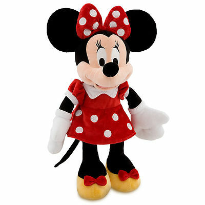"""Disney Authentic Patch Minnie Mouse BIG Red Polka Dot Plush Toy 19"""" Doll Gift !!"""