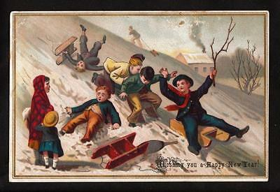 c.1890 children sledding snow victorian New Year greeting card