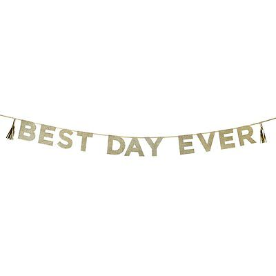 Gold Glitter party Banner 'Best Day Ever' Wedding Bunting Decorations Graduation
