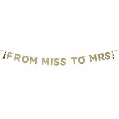 Gold Glitter Hen Party Banner 'From Miss to Mrs' Bridal Shower Bunting Decoratio