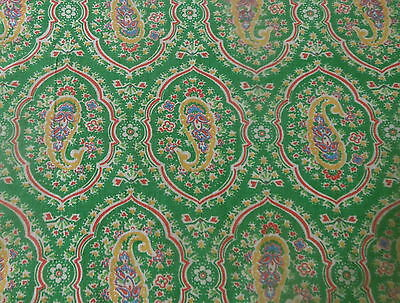 Antique Vtg Floral Paisley Medallion Cotton Fabric ~ Apple Green Yellow Blue Red
