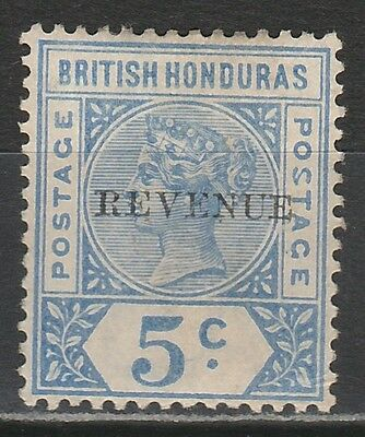 British Honduras 1899 Qv Revenue 5C Rare Error Malformed S