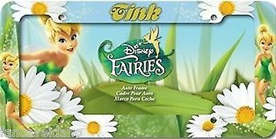 Tinkerbell Tink White Daisy Flowers Plastic Car Auto License Plate Frame