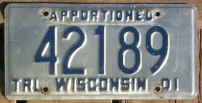 Wisconsin 1990 - 2001  12 year APPORTIONED TRAILER license plate!
