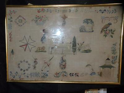 """ANTIQUE SPOT SAMPLER 21.50"""" X 14"""" WITH FLOWERS BIRDS PAGODA soldier"""
