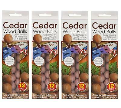 48 x Red Cedar Wood Balls Natural Moth Repeller Deterrent Wardrobe Drawers
