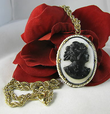 Vintage Ornate Black & White Faux Cameo  Beaded  Necklace CAT RESCUE