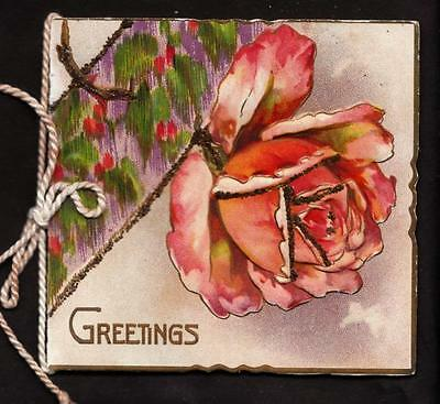 antique embossed pink rose booklet yuletide christmas victorian greeting card