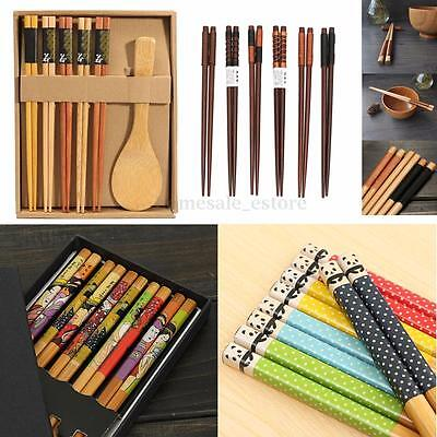 Variety Handmade Japanese Natural Wood Wooden Chopsticks Spoon Set Value Gift