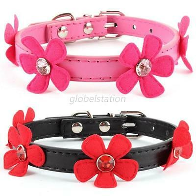 Adjustable PU Leather Flower Necklace Strap Collar For Pet Small Cat Puppy Dog
