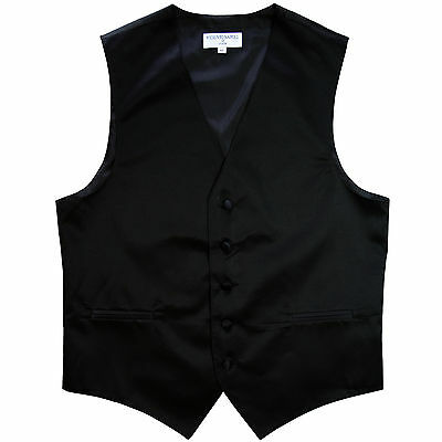 New polyester men's tuxedo vest waistcoat only solid black prom wedding formal