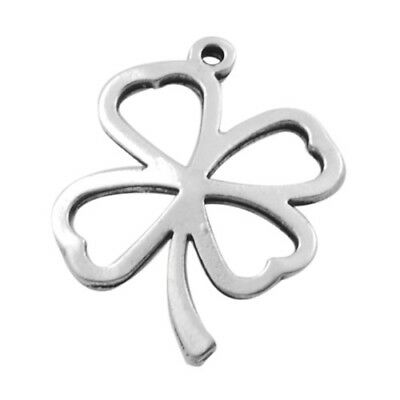 Pack of 5 x Antique Silver Tibetan 25mm Charms (FOUR LEAF CLOVER) HA08930