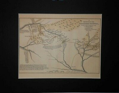Cherokee Indian Country 1750 Matted Reprint Map Tennessee Georgia South Carolina