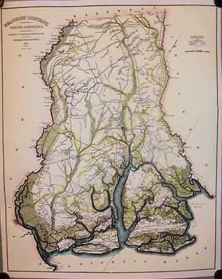 Beaufort District South Carolina 1820 Map Hand Color