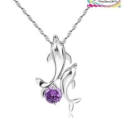 """Sterling Silver Amethyst Dolphin Cubic Zirconia Pendant Necklace 18"""" Chain Gift"""