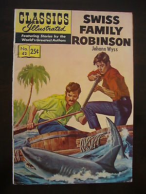 Classics Illustrated #42 HRN 169 VG+ Swiss Family Robinson
