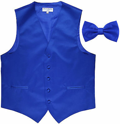 New Men's Formal Vest Tuxedo Waistcoat Royal blue with Bowtie wedding prom party