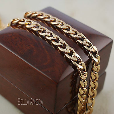 """18ct 18K Gold Plated 19"""" Mens Ladies Chain Link Curb Necklace -New UK 197"""