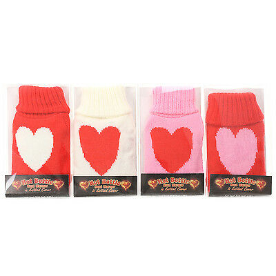 Mini Hot Water Bottle Shaped Hand Warmer In Knitted Cover Heart Design Heat Pads
