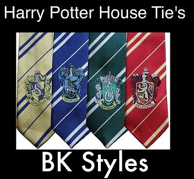 HARRY POTTER House Tie Ties With or Without Badge For Fancy Dress UK Free P&P