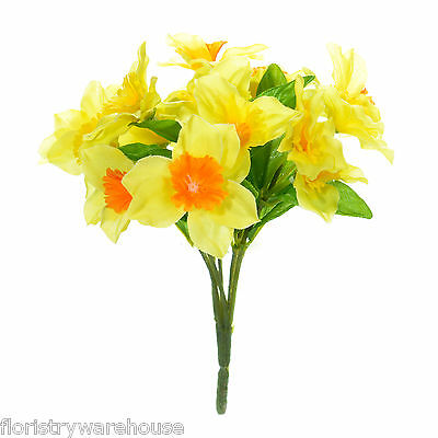 Artificial Daffodil bunch 6 Stems of Two-tone Spring Flowers 18cm/7 Inches
