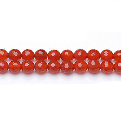 Strand Of 45+ Red Carnelian 8mm Faceted Round Beads GS0607-2