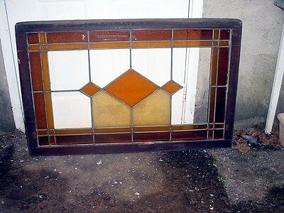 ANTIQUE AMERICAN STAINED GLASS TRANSOM WINDOW 44 x 28 repair or salvage