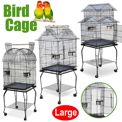 Large Parrot Aviary Bird Cage Canary OpenTop Portable Wheels With Perches Stand